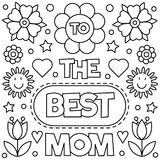 Coloring page. Vector illustration. To the best mom. Coloring page. Vector illustration of flowers Stock Images