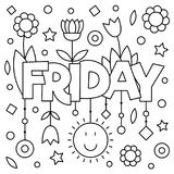 Coloring page. Vector illustration. Coloring page. Vector illustration of a wek day. Friday Royalty Free Stock Image