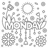 Coloring page. Vector illustration. Coloring page. Vector illustration of a wek day. Monday Royalty Free Stock Image