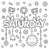 Coloring page. Vector illustration. Coloring page. Vector illustration of a wek day. Saturday Stock Photos