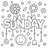Coloring page. Vector illustration. Coloring page. Vector illustration of a wek day. Sunday Stock Photography