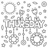 Coloring page. Vector illustration. Coloring page. Vector illustration of a wek day. Thursday Stock Photography