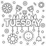 Coloring page. Vector illustration. Coloring page. Vector illustration of a wek day. Tuesday Royalty Free Stock Photo