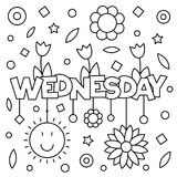 Coloring page. Vector illustration. Coloring page. Vector illustration of a wek day. Wednesday Stock Images