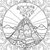 Coloring page with volcano Stock Photo