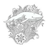 Coloring page with whale in flowers and leafs isolated on white background. Stock Images