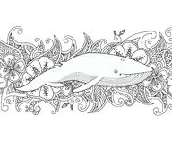 Coloring page with whale in the sea on flower border background. Royalty Free Stock Photos
