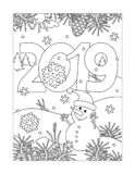 Coloring page with year 2019 heading stock illustration