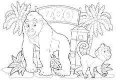 Coloring page - the zoo - illustration for the children Royalty Free Stock Photos