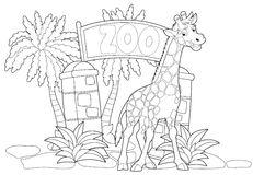 Coloring page - the zoo - illustration for the children Stock Photo
