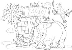 Coloring page - the zoo - illustration for the children. Beautiful zoo coloring page for children Royalty Free Stock Image