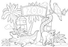 Coloring page - the zoo - illustration for the children Royalty Free Stock Photography