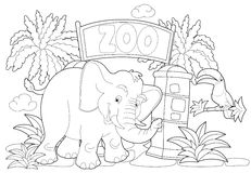 Coloring page - the zoo - illustration for the children Stock Photography