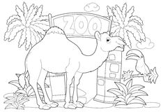 Coloring page - the zoo - illustration for the children Stock Images