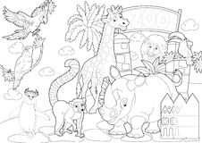 Coloring page - the zoo - illustration for the children. Beautiful zoo coloring page for children Royalty Free Stock Photo
