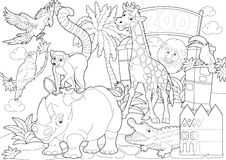 Coloring page - the zoo - illustration for the children. Beautiful zoo coloring page for children Stock Image