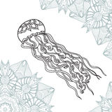 Coloring pages for adult jellyfish with ornament. Coloring pages for adult. Hand drawn zentangle  jellyfish with ornament. Black and white vector illustrations Royalty Free Stock Photo