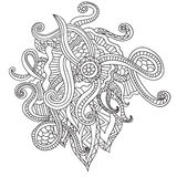 Coloring pages for adults. Coloring book.Decorative hand drawn doodle nature ornamental curl vector sketchy pattern. In doodl style Royalty Free Stock Photography
