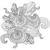Coloring pages for adults.Decorative hand drawn doodle nature ornamental curl vector sketchy pattern. Coloring pages for adults. Coloring book.Decorative hand Royalty Free Stock Image