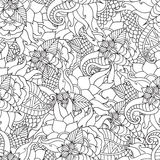 Coloring pages for adults.Decorative hand drawn doodle nature ornamental curl vector sketchy seamless pattern. Hand drawn artistic ethnic ornamental patterned Royalty Free Stock Image