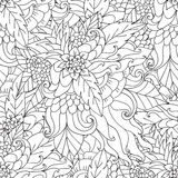 Coloring pages for adults.Decorative hand drawn doodle nature ornamental curl vector sketchy seamless pattern. Stock Image
