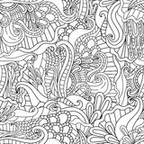 Coloring pages for adults.Decorative hand drawn doodle nature ornamental curl vector sketchy seamless pattern. Royalty Free Stock Photos