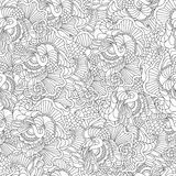 Coloring pages for adults.Decorative hand drawn doodle nature ornamental curl vector sketchy seamless pattern. Stock Images