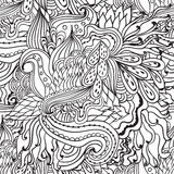 Coloring pages for adults.Decorative hand drawn doodle nature ornamental curl vector sketchy seamless pattern. Royalty Free Stock Photo