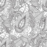 Coloring pages for adults.Decorative hand drawn doodle nature ornamental curl vector sketchy seamless pattern. Coloring pages for adults. Coloring book Royalty Free Stock Photography