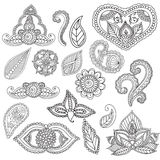 Coloring pages for adults. Henna Mehndi Doodles Abstract Floral Elements. Royalty Free Stock Images