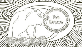 Coloring pages for adults with the lettering, be strong. Line art doodling Stock Photo