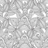 Coloring pages for adults. Seamles Henna Mehndi Doodles Abstract Floral Elements. Stock Image