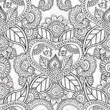 Coloring pages for adults. Seamles Henna Mehndi Doodles Abstract Floral Elements. Stock Images