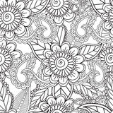 Coloring pages for adults. Seamles Henna Mehndi Doodles Abstract Floral Elements. Royalty Free Stock Photo