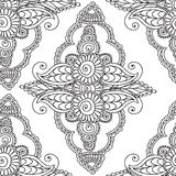 Coloring pages for adults. Seamles Henna Mehndi Doodles Abstract Floral Elements. Stock Photography