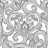 Coloring pages for adults. Seamles Henna Mehndi Doodles Abstract Floral Elements. Stock Photos
