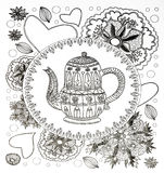 Coloring pages for adults,tea Royalty Free Stock Photo
