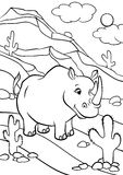 Coloring pages. Animals. Cute rhinoceros. Royalty Free Stock Photography