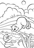 Coloring pages. Animals. Little cute cat. Stock Image