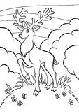 Coloring pages. Animals. Little cute deer. Royalty Free Stock Photography