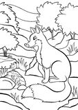 Coloring pages. Animals. Little cute fox. Stock Photo
