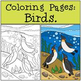 Coloring Pages: Birds. Three little cute penguins swim. Underwater and smile stock illustration