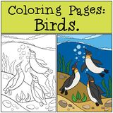 Coloring Pages: Birds. Two little cute penguins hug. Coloring Pages: Birds. Three little cute penguins swim underwater and smile vector illustration