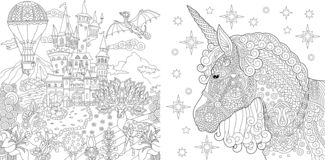 Coloring Pages. Coloring Book for adults. Colouring pictures with fairytale castle and magic unicorn. Antistress freehand sketch. Drawing with doodle and stock illustration