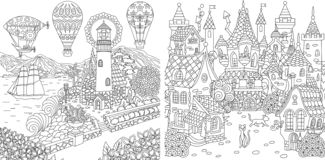 Coloring Pages. Coloring Book for adults. Colouring pictures with light house and fairy tale castle. Antistress freehand sketch. Drawing with doodle and royalty free illustration