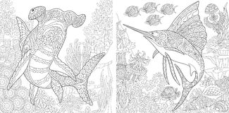 Zentangle underwater collection Royalty Free Stock Photography