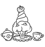 Coloring pages cake and tea service Royalty Free Stock Image