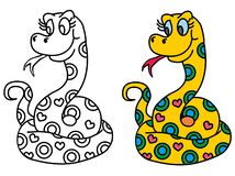 Cute snake. Coloring pages for childrens with funny animals, cute snake vector illustration