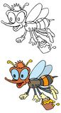 Funny bee. Coloring pages for childrens with funny animals,funny bee stock illustration