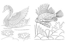Coloring pages collection of swan and lion fish, simple line art for colouring book for anti stress.Vector illustration stock illustration